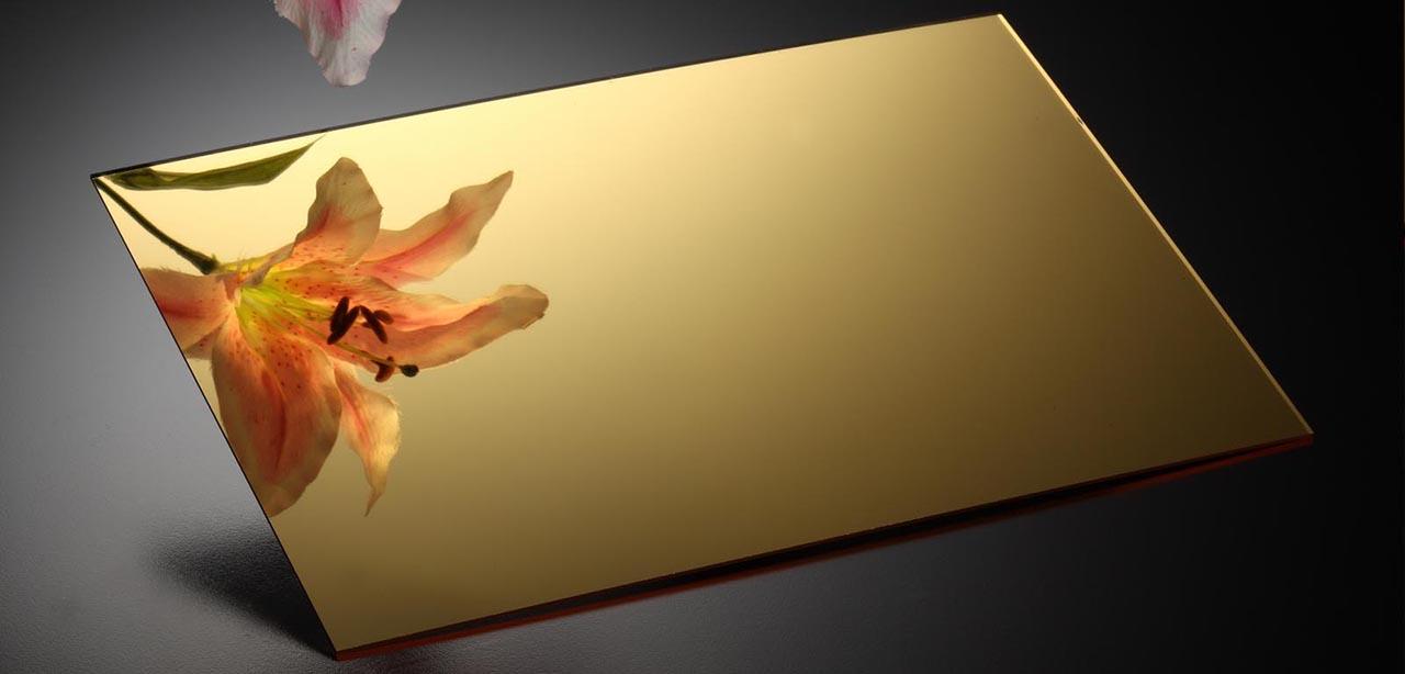 tấm mica gương vàng tráng đồng
